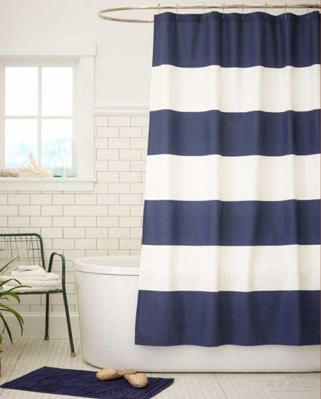 cortina-para-bano-rallas-azul
