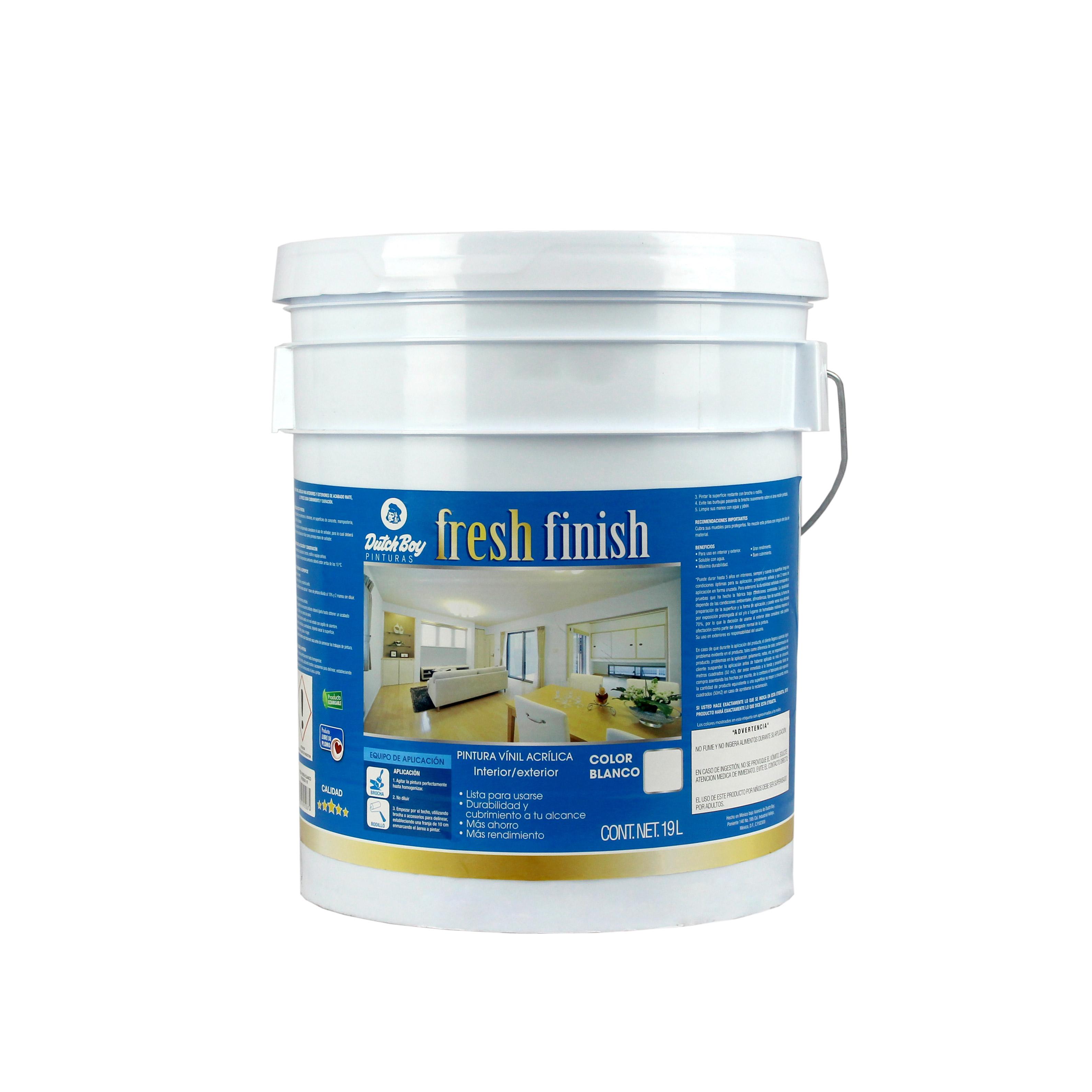 pintura vinil acrílica blanca Fresh Finish dutch boy 19 litros